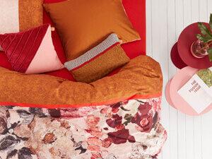 boven aanzicht van dekbedovertrek mellow rose van het merk olily