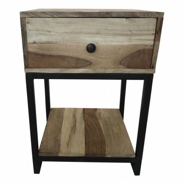 massief houten nachtkastje met ijzeren frame een, een lade en een schapje