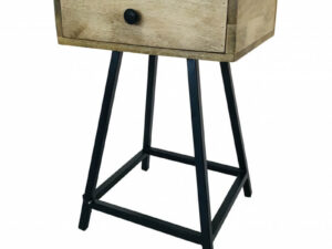 Wood & Iron nachtkastje van metaal en hout met een simpele moderne look