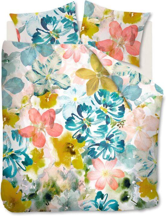 Dekbedovertrek met bloemen print gemaakt van katoen satij