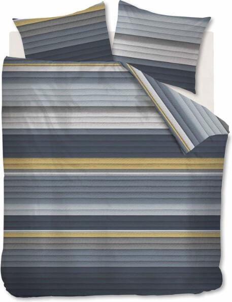 dekbedovertrek met blauwe grijze en gele strepen van het merk At Home