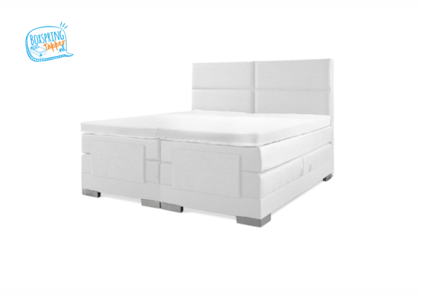 eletriche boxspring in de kleur wit skai met luxe hoofdbord