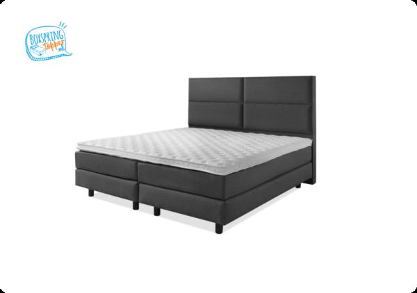 boxspring bed antraciet met een 4 vlakken hoofdbord