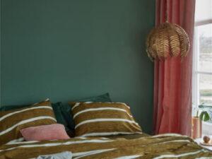 At home dekbedovertrek Daily in het oker geel met witte strepen