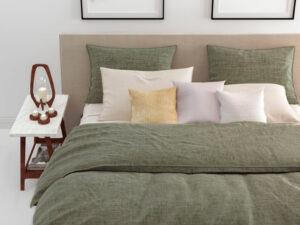 detail dekbedovertrek Lino van Zo! Home in de kleur groen