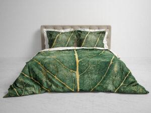 heckett lane dekbedovertrek met groot groen blad en gouden nerven