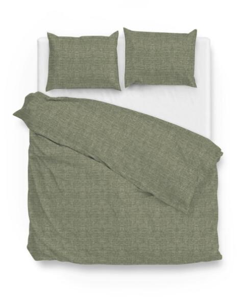 groen dekbed met linnen look print Zo! home
