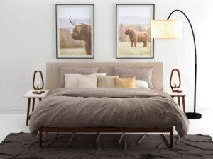 bed opgedekt met bruin linnen look dekbedovertrek in de kleur bruin