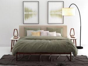 bed opgedekt met groen dekbedovertrek Lino van Zo Home