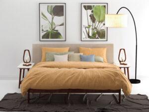 bed opgedekt met ochre yellow dekbed lino van Zo! Home