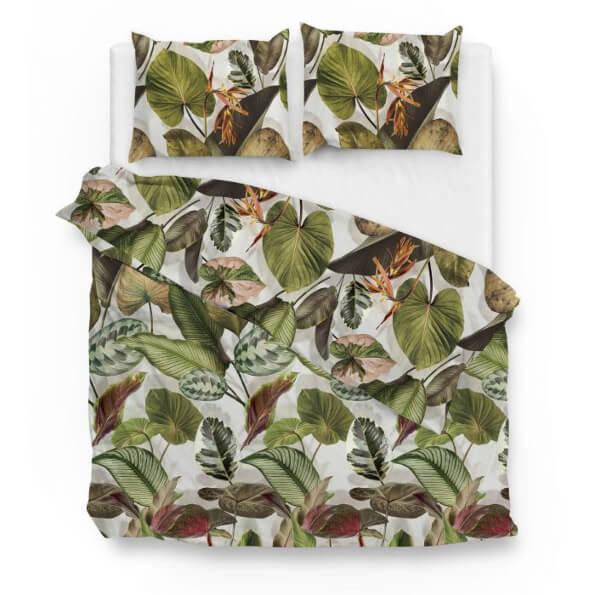 bovenaanzicht van katoenen dekbedovertrek Gianni zo home met jungle print